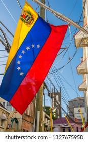 Colourful flag of Grenada, St George's, Grenada, Windward Islands, West Indies, Caribbean, Central America 2 February 2019