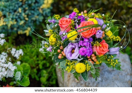 Colourful flower arrangement purple pot peach stock photo edit now colourful flower arrangement in a purple pot peach rose purple lilac eustoma mightylinksfo