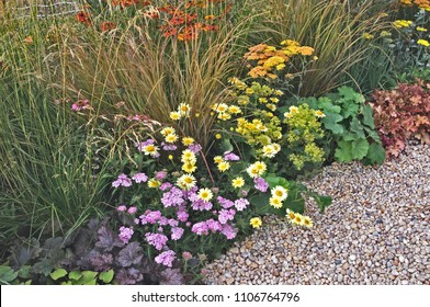 Colourful flower border with Helenium,  Anthemis,  Astilbes and assorted grasses in a country garden