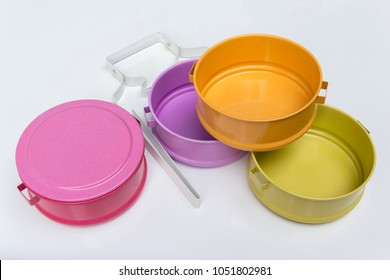 Colourful food carrier on white background