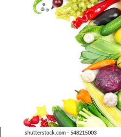 Colourful fruits and vegetables on white background