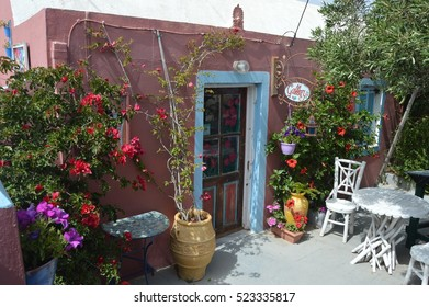 Colourful gallery in Santorini