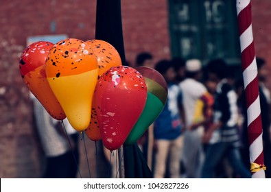 Colourful gas balloons isolated object unique stock photograph