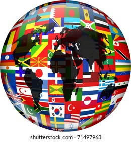 International flags stock illustrations images vectors shutterstock colourful globe illustration made up of flags from all over the world and incorporating a world freerunsca Image collections