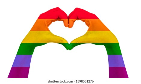 Colourful Hand heart shape for campaign LGBTQ symbol for lesbian, gay, bisexual, transgender and queer or questioning on isolated background.