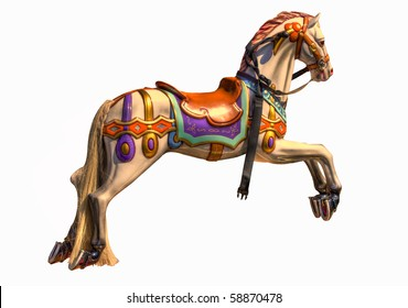 Colourful HDR photo of horse on Merry-go-round