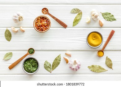 Colourful herbs spices and flavoring for cooking