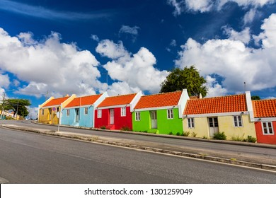 Colourful homes on the streets of Willemstad, Curacao