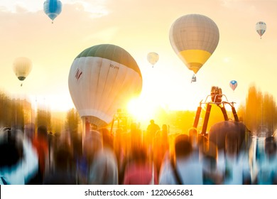 Colourful Hot Air Ballons Taking Off at European Balloon Festival, in Igualada