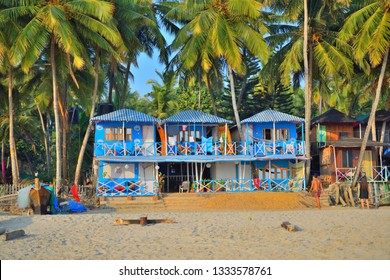 Colourful hotels in Palolem beach, Goa.