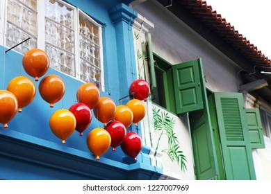 Colourful house facades of the vibrant Haji Lane in Singapore