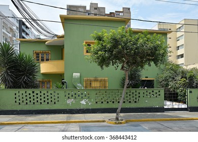 Colourful house in suburb Miraflores of Lima - capital of Peru.