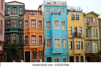 Colourful houses in Balat, in Istanbul,Turkey,2018