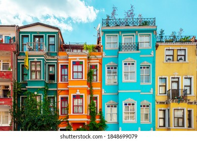 Colourful houses in Balat popular among tourists , Istanbul, Turkey