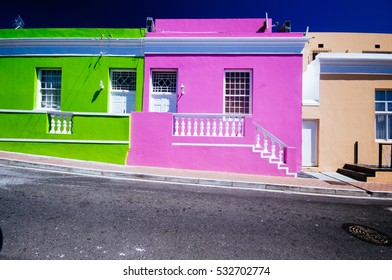 Colourful houses in Bo Kaap area, a former Malaysian neighbourhood in Cape town, South Africa