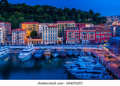 Colourful houses by the French Riviera Port Lympia in Nice, France