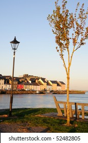 Colourful houses at dusk on Ballyknow Quay, Galway, Republic of Ireland