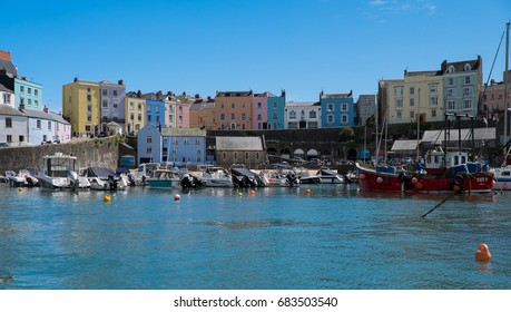 Colourful houses line the harbour at Tenby South Wales UK 20.7.17