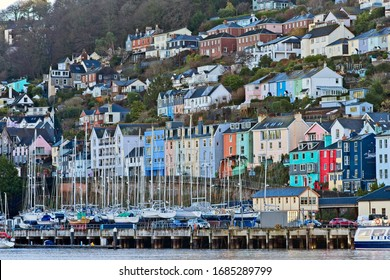 The colourful houses and marina in the older part of Dartmouth, Devon, England, UK.