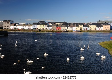 Colourful houses on Ballyknow Quay, Galway, Republic of Ireland