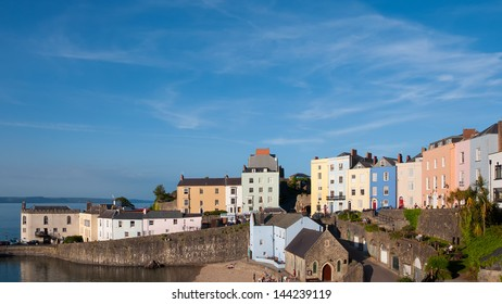 Colourful houses in Tenby harbour, Wales, UK