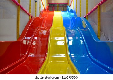 Colourful indoor slides