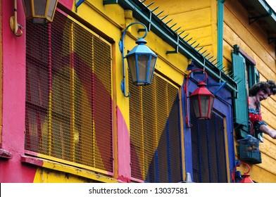 Colourful lamps in La Boca