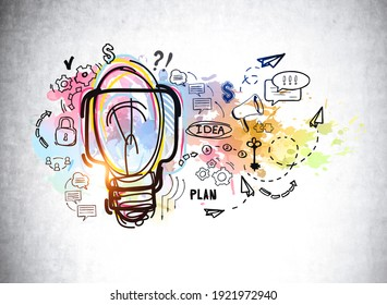 Colourful light bulb with idea and plans, icons of messages, gears, dialogue drawn on a grey concrete wall. Concept of idea and plan, 3D rendering