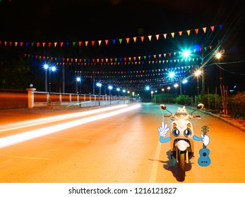 Colourful of  Light, Festival Flages and Blue Scooter, Night shooting with slow shutter speed and light trails from motorcycle