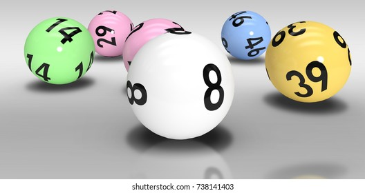 Colourful lottery balls against grey background