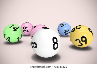 Colourful lottery balls against neutral background