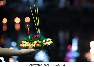 Colourful of Loy kratong (Loikrathong) festival or Loy Ka Tong,  traditional Siamese new year festival celebrated annually throughout the Kingdom of Thailand.