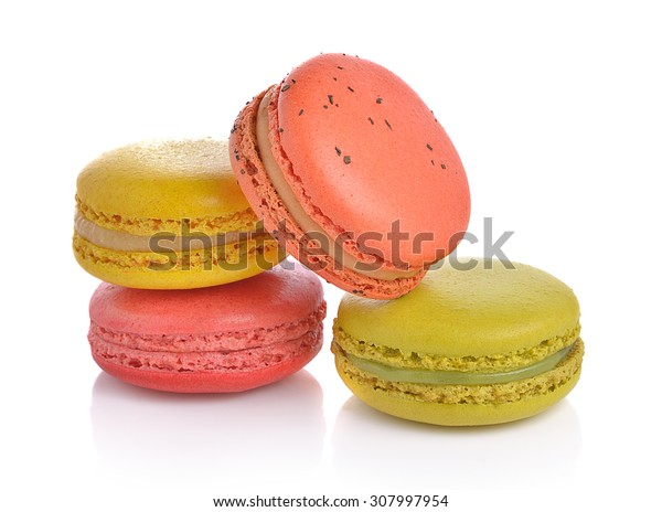 Colourful macaroons or macaron on white background, Dessert.