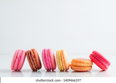 colourful macaroons on a White marble background,Food concept background.