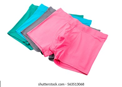 Colourful men's Boxer briefs isolated on a white background