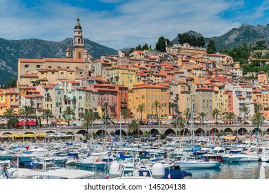 Colourful Menton harbour and town on the Cote d'Azur