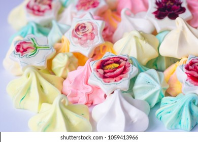 Colourful Meringue colored meringues many different sweet