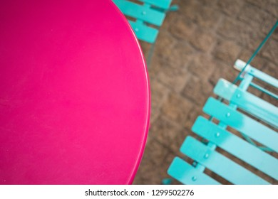 colourful metal table and chairs