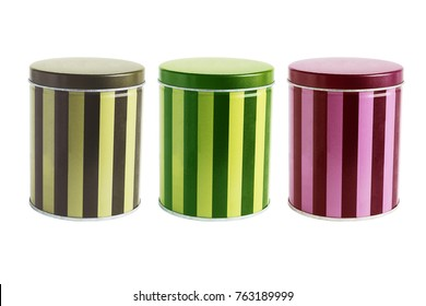 Colourful Metal Tin Cans on White Background
