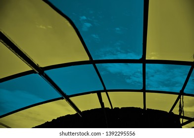 Colourful metallic roof isolated object unique photo