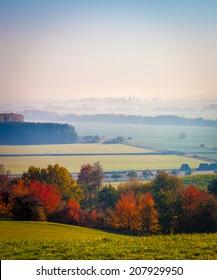 Colourful misty autumn landscape