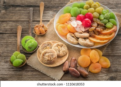 Colourful mixed dried fruits for health, Preserved of tropical dry fruits dehydrated