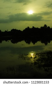 Colourful monsoon sunrise at a flooded paddy field. Kerala scenery