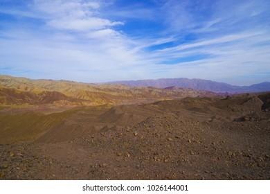 Colourful mountain tourist attraction in Iran near Kerman