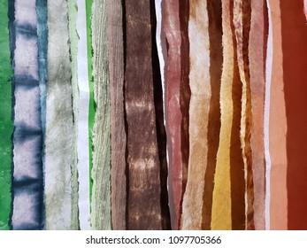 Colourful natural dyes handmade stack of paper made from bark of the tree idea for background wallpaper