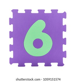 Colourful number puzzle isolated on white background. Number learning block for children education.