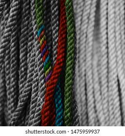 Colourful nylon ropes unique photo
