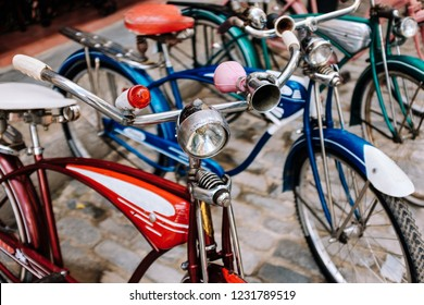Colourful old bicycles in Old Havana, Cuba.