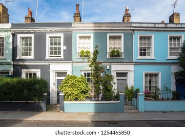 Colourful Old Terraced Houses in London on a Sunny Autumn Day