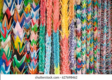 Colourful Paper Cranes in Kyoto, Japan.